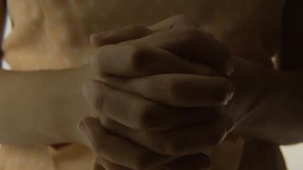 Vintage girl silhouette hands close ECU LT