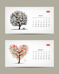Vector calendar 2015, january and february months. Art tree
