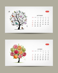 Calendar 2015, september and october months. Art tree design
