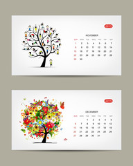 Calendar 2015, november and december months. Art tree design