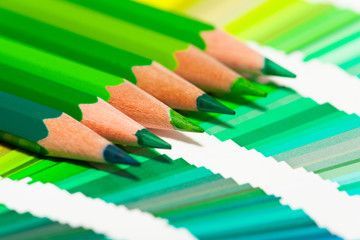 crayons de couleurs verts sur un nuancier de teintes vertes