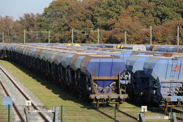 train freightwagons in blue