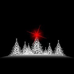 christmas trees red star