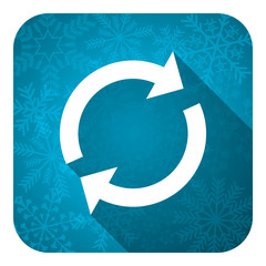 reload flat icon, christmas button, refresh sign