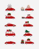 Set of different red cars with luggage for your design