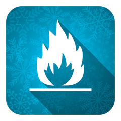 flame flat icon, christmas button