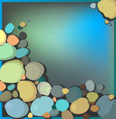 Abstract background in marine style with multicolored stones