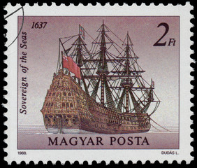 Stamp printed in Hungary shows Sowereign of the Seas