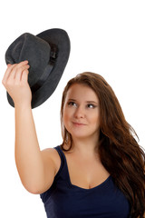 The smiling plump girl with a hat  isolated