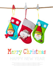Christmas stockings isolated on white.