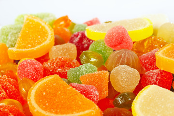 Colorful sweetmeats and jelly close up