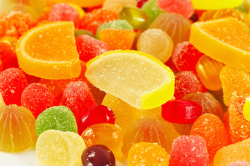 Colorful fruity sweetmeats and jelly close up