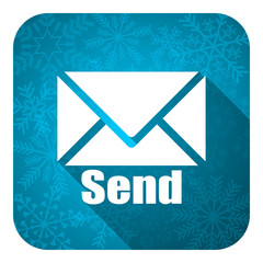 send flat icon, christmas button, post sign
