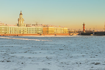 Vasilievsky island and Kunstkammer winter morning in St. Petersb