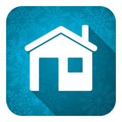 house flat icon, christmas button, home sign