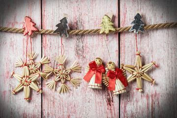 Christmas toys of straw