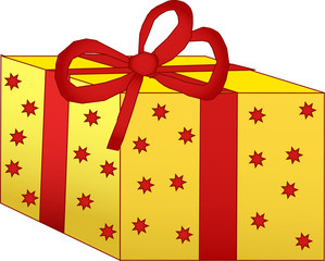 Yellow gift box with red stars and a bow