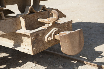 Closeup of old railway carriage coupling