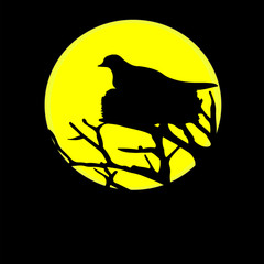 Bird Nest in a Tree in Front of the Moon