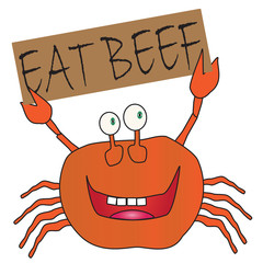 Cartoon Crab Holding a Eat Beef Sign