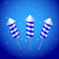 Three blue fireworks rocket