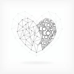 Geometric Card - Heart Shape - in vector