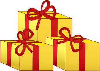 Three yellow gift box with red bow
