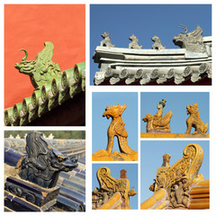 collage made of images with ancient roof decorations, Beijing