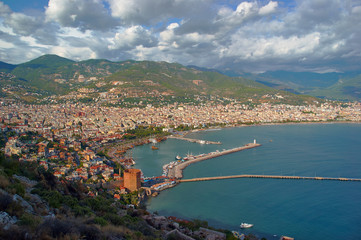 View of the harbor and the city of Alanya in Turkey.