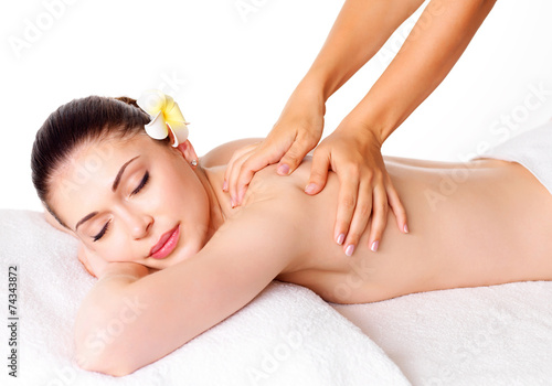 canvas print picture Woman having massage of body in spa salon