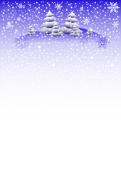 Winter background with fir trees and different snowflakes 2015