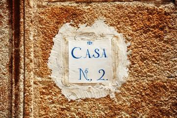 Casco histórico de Cáceres, número de una casa