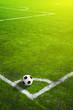 Leinwandbild Motiv Soccer grass field with marking and ball, Sport