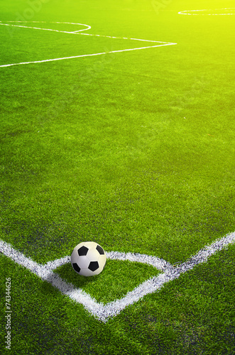 Soccer grass field with marking and ball, Sport - 74344626