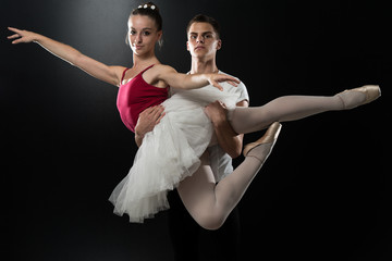 Couple Ballerina Ballet Dancer Dancing On Black Background