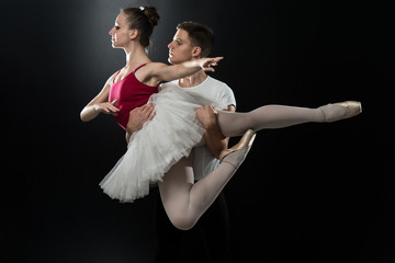 Young Couple Ballet Dancer Dancing