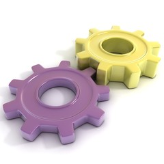 Violet and yellow gear wheels, 3d concept isolated no white back