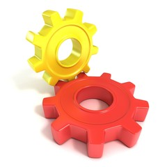 Two gear wheels, 3D concept, isolated no white background