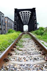 Line of railway crossing in rural of Thailand.
