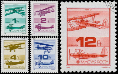 Stamps printed in Hungary shows Old Airplanes