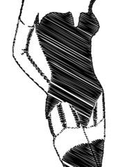 Esquisse d'une femme en porte-jarretelles