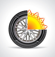 The silhouette of the summer wheel