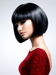 Beautiful young woman with bob hairstyle.