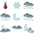 Night day weather colour icons set isolated on white background