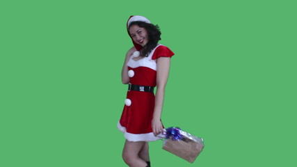 Santa girl with gift in hand green screen