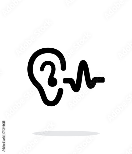 Ear hearing sound icon on white background. - 74346621