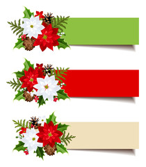 Christmas banners with fir branches, holly, poinsettia, cones.