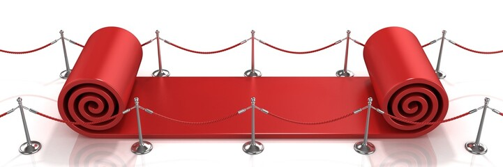 Big red carpet unrolling concept on white background