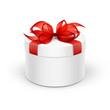 White Round Gift Box with Red Ribbon and Bow - 74348070