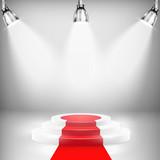 Illuminated Podium With Red Carpet - 74348237